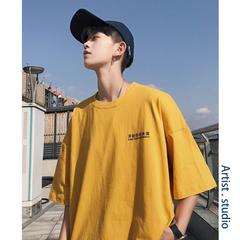 夏季黄色短袖t恤韩版宽松衣服潮流男装情侣半袖2019新款文艺男士