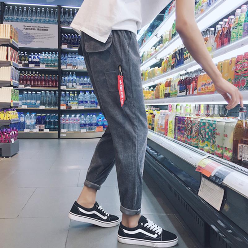 2019新款裤子休闲裤九分裤宽松潮牌韩版小脚秋季长裤潮流男士男裤