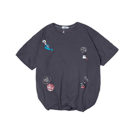 文艺男女店夏季ins港风五分袖t恤