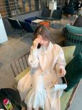 ANNA◆魔鬼经典大衣~简约气质系带双面呢外套 中长款毛呢大衣女