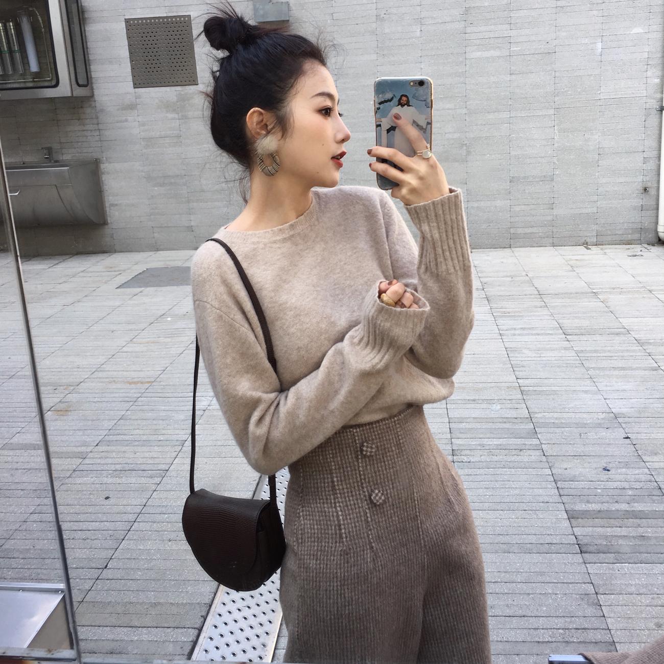 ◆ASM◆2018冬季新款百搭圆领打底衫套头纯色修身毛衣针织衫女装
