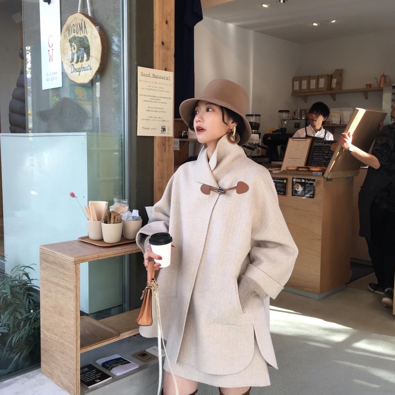 ◆ASM◆2018冬季新款气质牛角扣呢子外套毛呢半身裙时尚套装女装