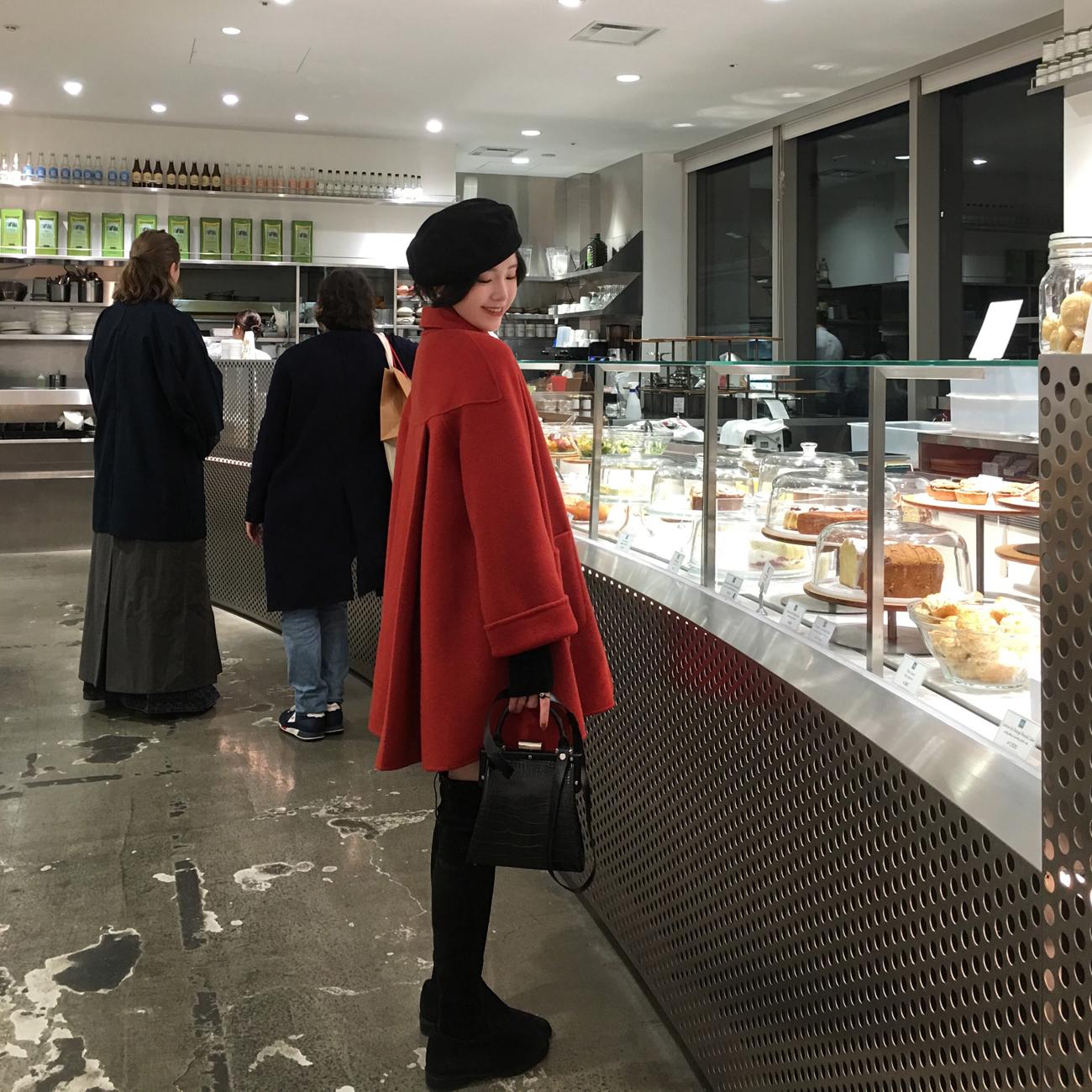 ◆ASM◆2018冬季新款经典A字毛呢外套中长款气质宽松羊毛大衣女装