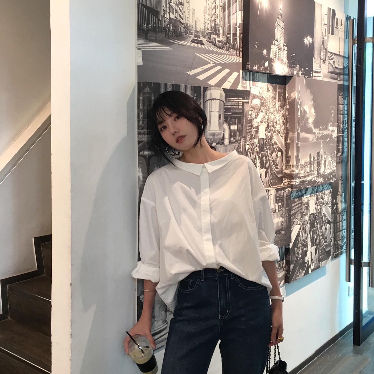 ◆ASM◆2019春季新款一字领设计感长袖衬衫白色宽松休闲上衣女装