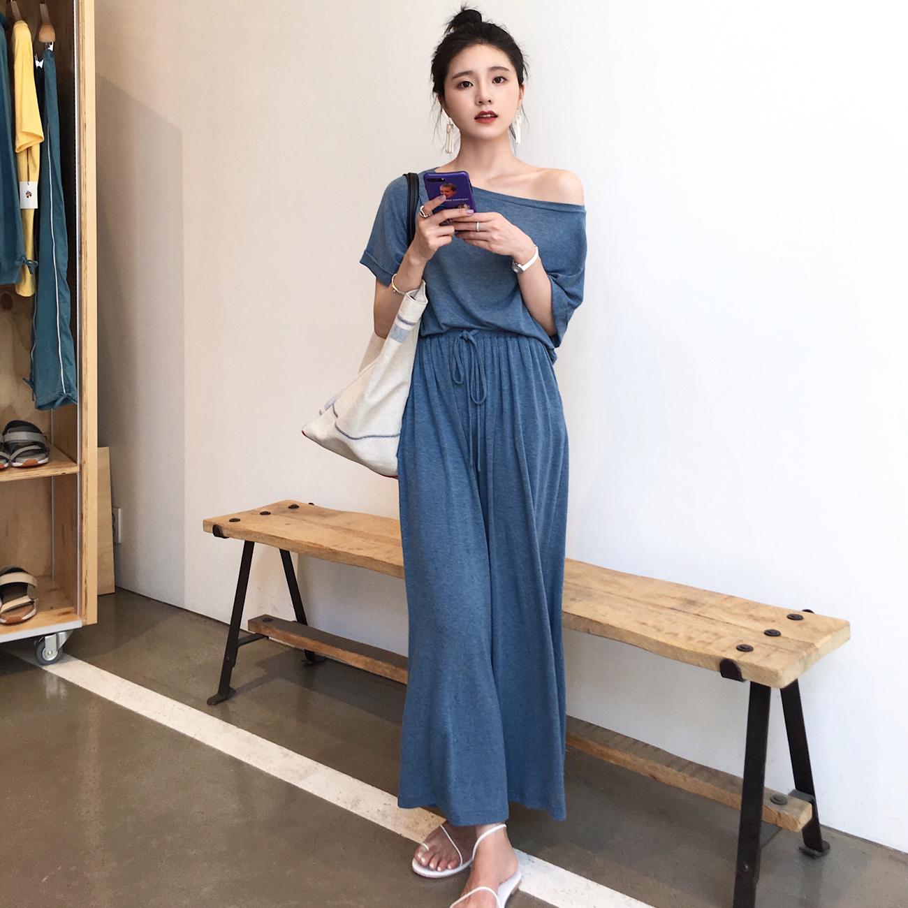 ◆ASM◆2018夏季新品针织短袖T恤裤子两件套装显瘦宽松休闲裤女装
