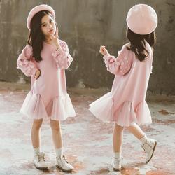 女童加绒连衣裙秋冬2020新款韩版儿童中长款卫衣裙子女孩洋气纱裙