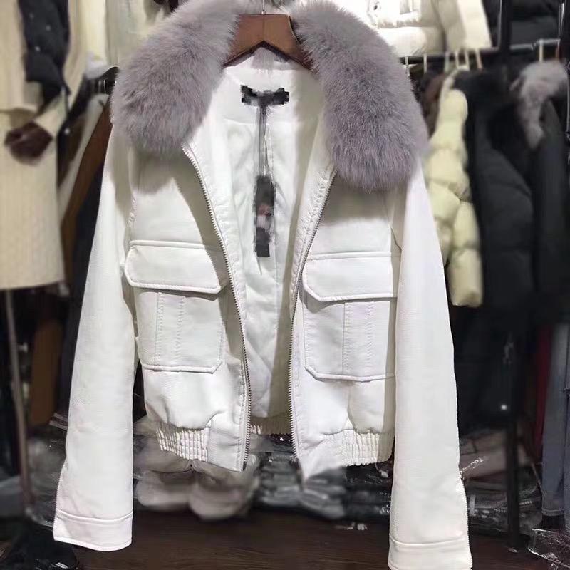 2020 winter new style temperament waist real fox fur collar long sleeve and cotton fur coat womens short jacket motorcycle coat