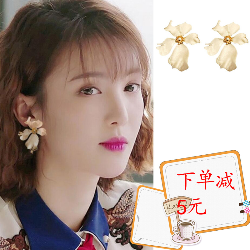 We all want to have a good Jinchen Eliza with gold flower earrings high sense Earrings retro Earrings Silver