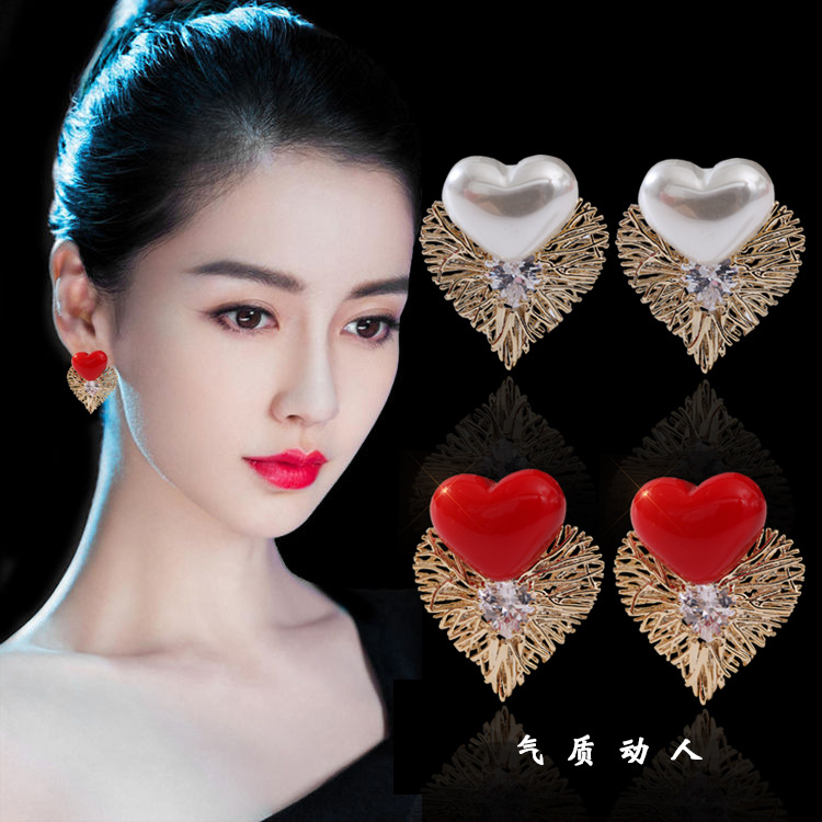 Earrings, heartthrob, electrogram, hollow out, love size, pearl, emerald, earrings, new years style, Chinese happy ear clip