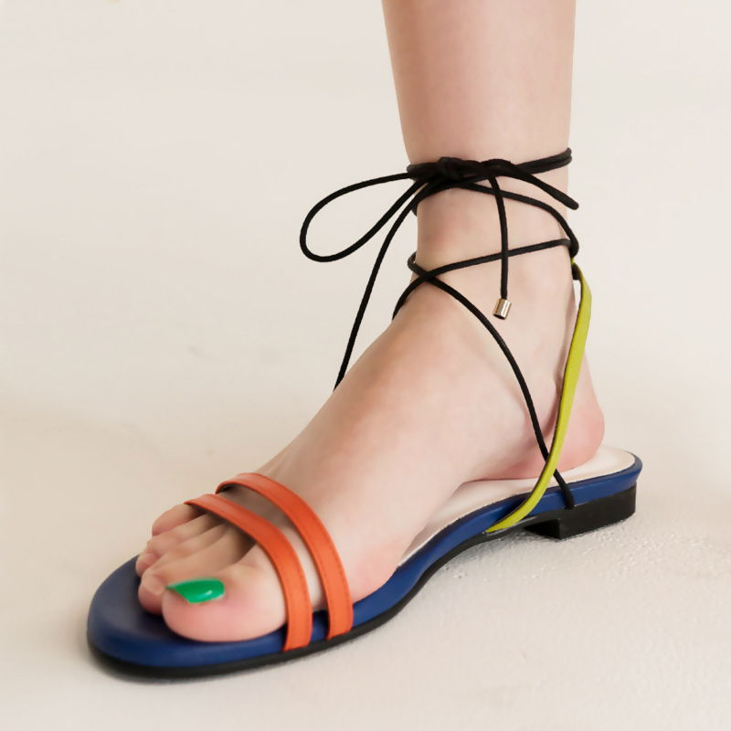 Ins ANKLE STRAP FLAT SANDALS girl 2019 summer new all-around chic ROMAN SANDALS student