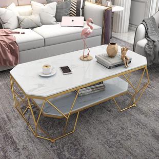 简约现代双层茶几客厅长方形钢化玻璃小户型时尚个性创意网红ins