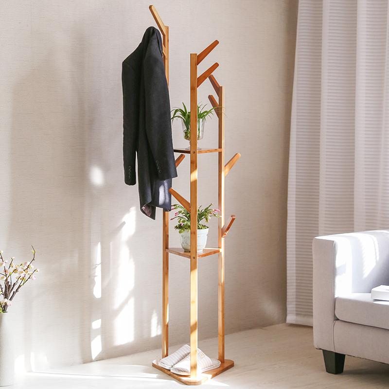Вешалка этаж простая творческая гостиная бамбуковая вешалка для одежды вешалка для одежды стойка для хранения гостиная спальня сушильная стойка
