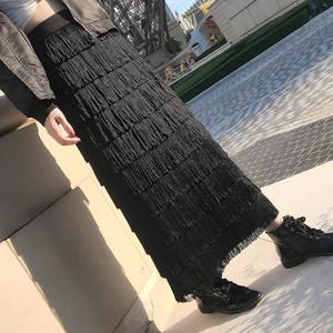 层层蛋糕裙女长裙胯大腿粗的裙子高腰中长款复古流苏半身裙女春夏
