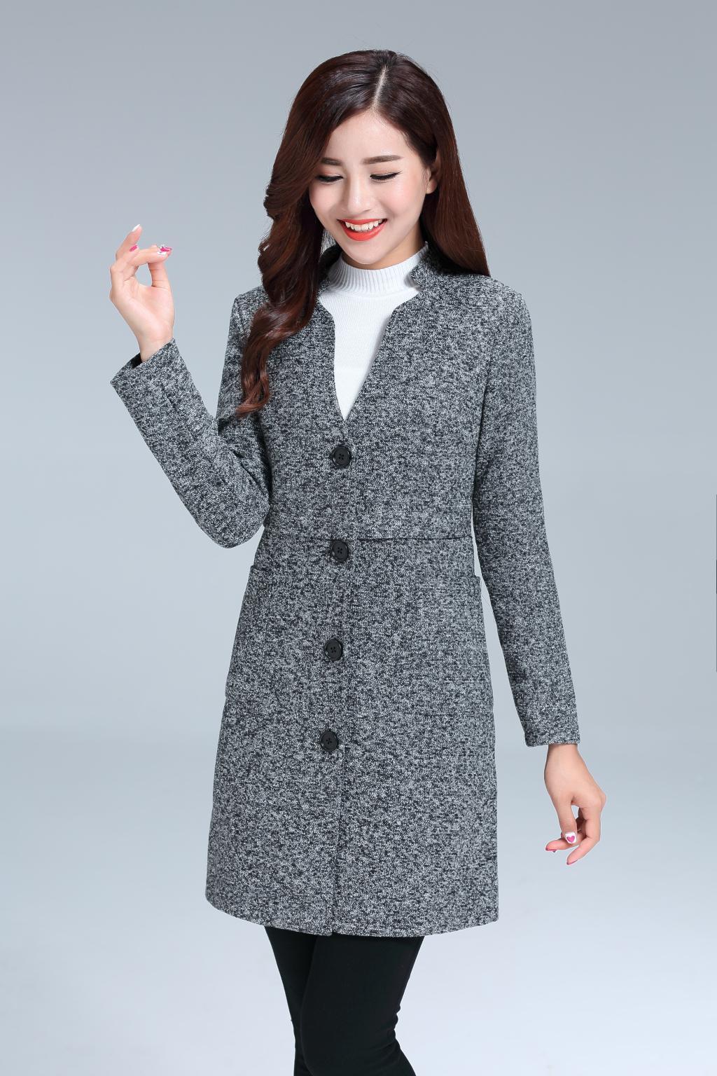 QWSP祺望尚品2016秋冬新款宽松型毛呢针织外套