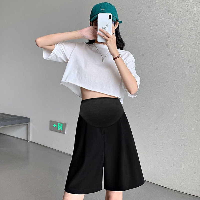孕妇短裤女夏季外穿薄款高腰五分西装直筒宽松大码休闲中裤打底裤