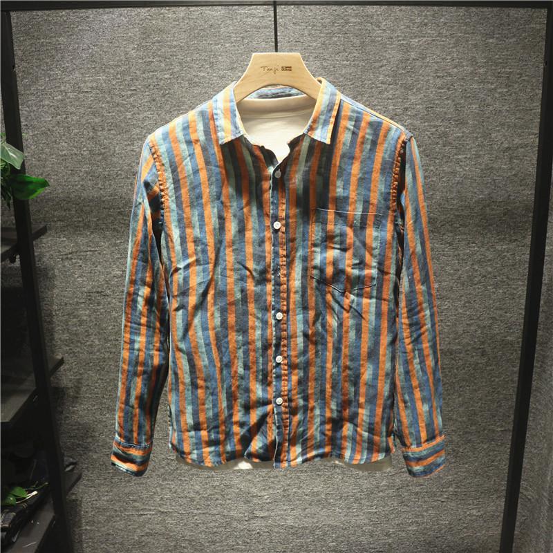 Hi man古着vintage拼色条纹衬衫男潮流亚麻宽松透气舒适长袖衬衣