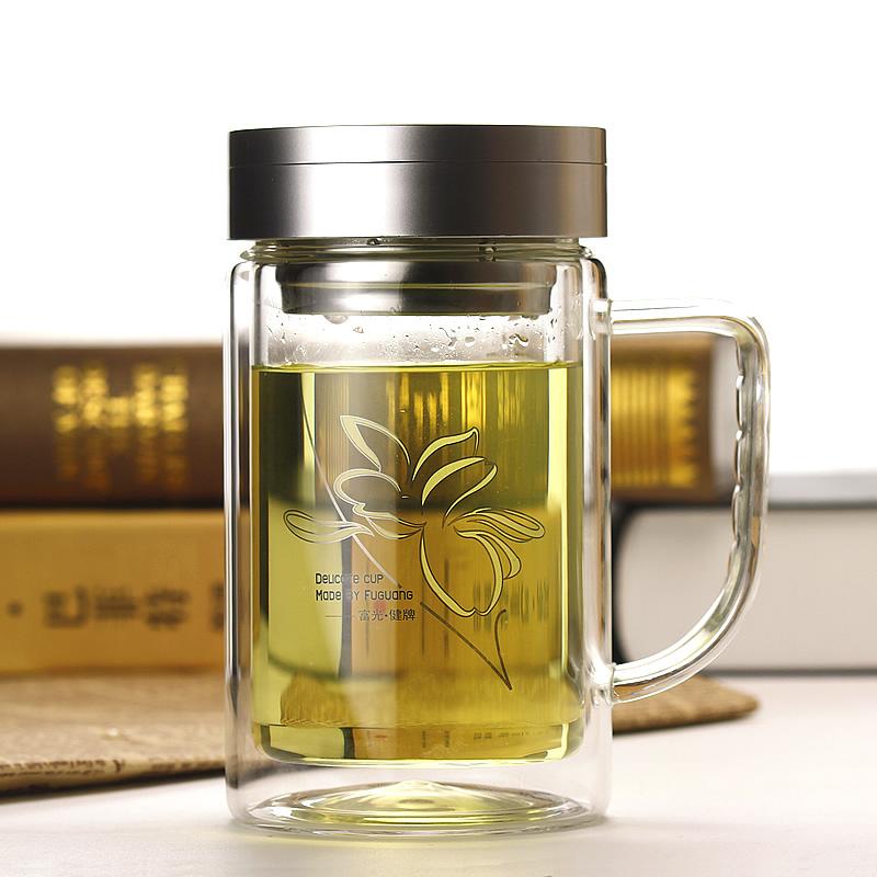 富光双层玻璃杯大容量泡茶杯子透明过滤创意带盖加厚防漏水杯正品