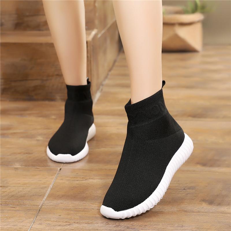 2021春秋新款轻便舒适高帮弹力袜子鞋针织百搭休闲平底运动单鞋女