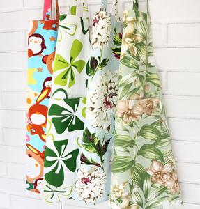 韩式纯棉帆布加厚围裙田园风可爱碎花家务护袖厨房女网红袖套头巾