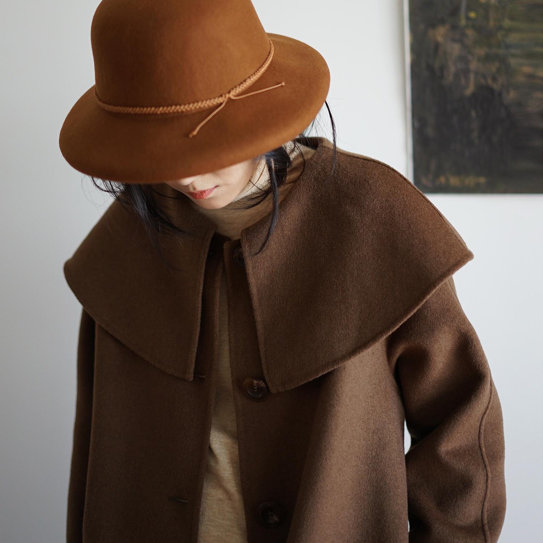 现货Coffee cloak neck wool coat 双面澳洲羊毛披肩领斗篷式大衣