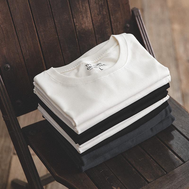 马登工装 黑白两件复古纯棉短袖丝光棉t恤纯色圆领T夏季打底衫男