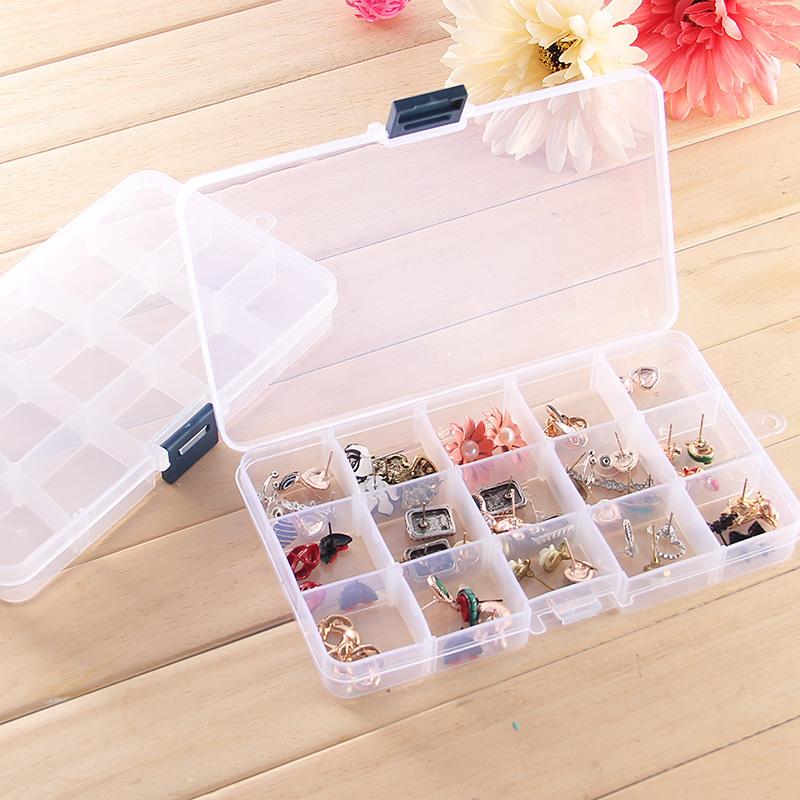 [透明首饰盒 15格可拆分塑料储物盒 耳钉戒子饰品桌面] органайзер [子]