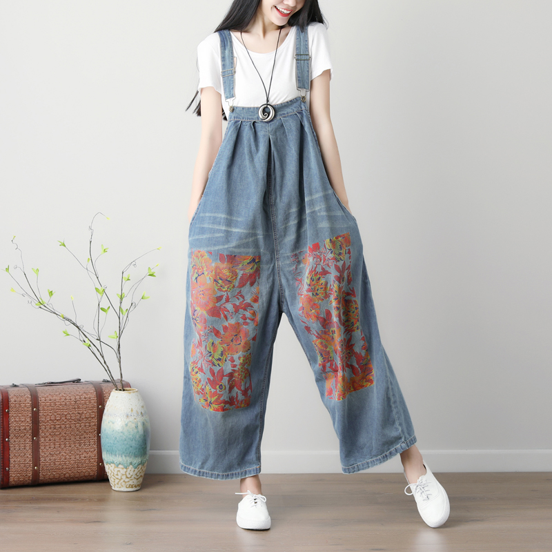 One shirt with water spring and summer new womens large size printed Bib pants literature wide leg pants washed jeans