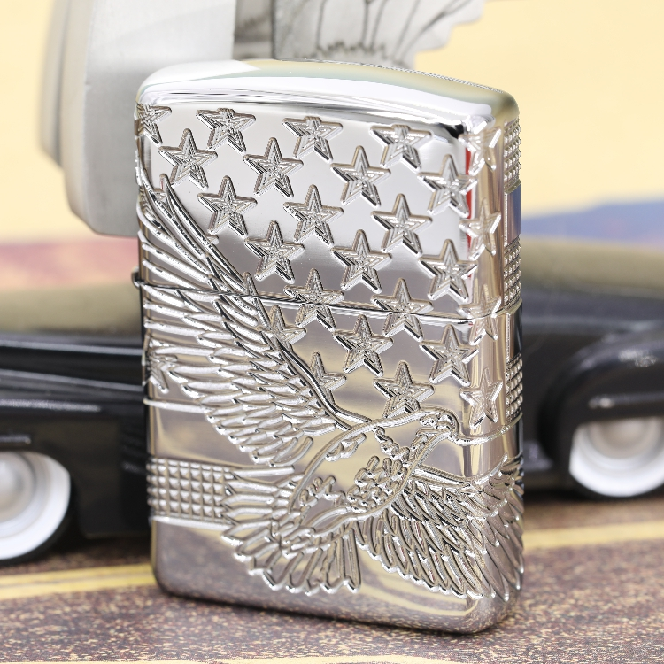 Original Zippo windproof lighter US version chrome plated mirror armor surrounded by deep carved wing spreading Xinghai 49027