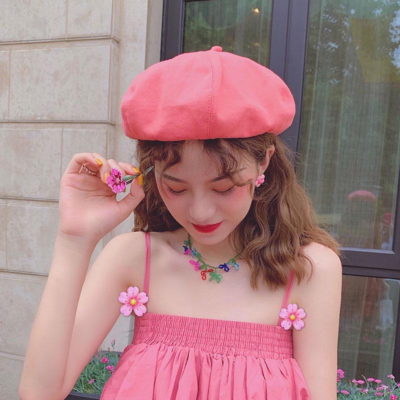 ベレー帽女の夏の薄手の透過性画家帽INS百合报童八角帽子純色の日にはカボチャ帽の潮があります。