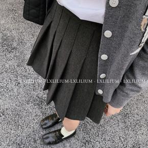 LXLILIUM 灰色百褶裙女秋冬季半身裙学院风毛呢短裙 含防走光打底