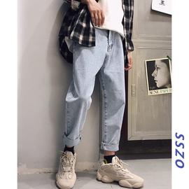 牛仔裤男潮牌宽松直筒浅色九分裤学生百搭秋季长裤子男生韩版潮流图片