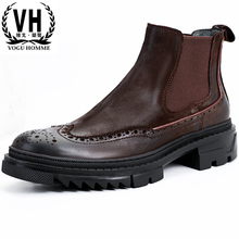 Chelsea boots leather short boots Martin boots Brock carved plush leather boots thick soled high retro men's shoes men's Boots