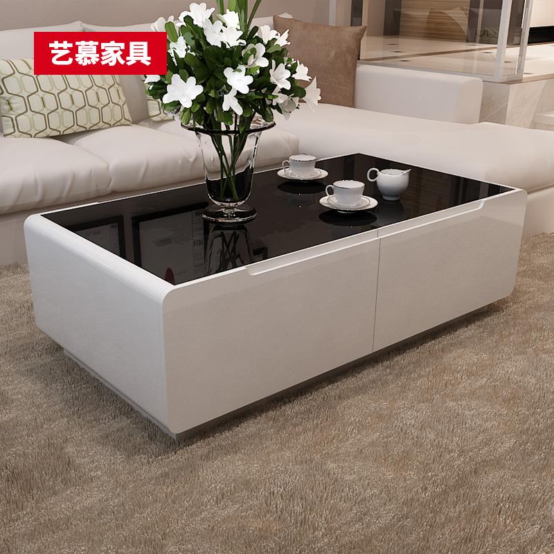 若蝶 黑白色烤漆客廳小戶型茶桌 現代簡約茶几鋼化玻璃電視櫃組合