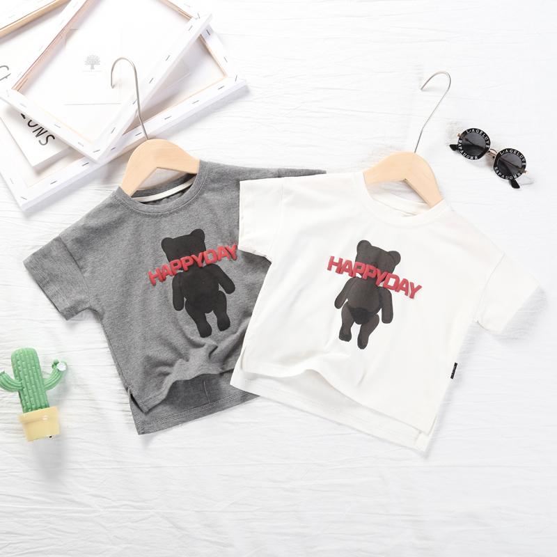2019夏童装儿童短袖t恤宝宝韩版卡通小熊上衣男童女童婴儿打底衫