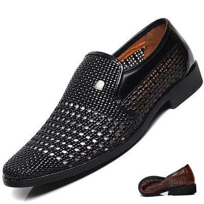 清仓特价男士真皮商务正装镂空洞洞皮凉鞋男中老年夏季英伦爸爸鞋