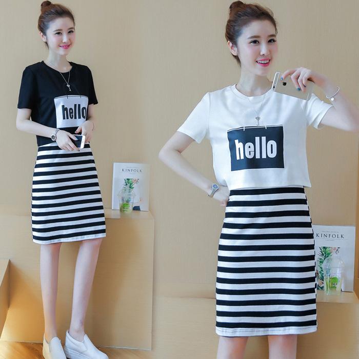 夏季女装时尚2021新款韩版气质字母印花短袖条纹背心两件套裙子
