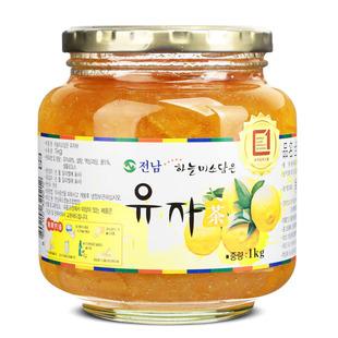 韩国原装进口 全南蜂蜜柚子茶1kg泡水喝的冲饮品花草茶花果茶果酱品牌