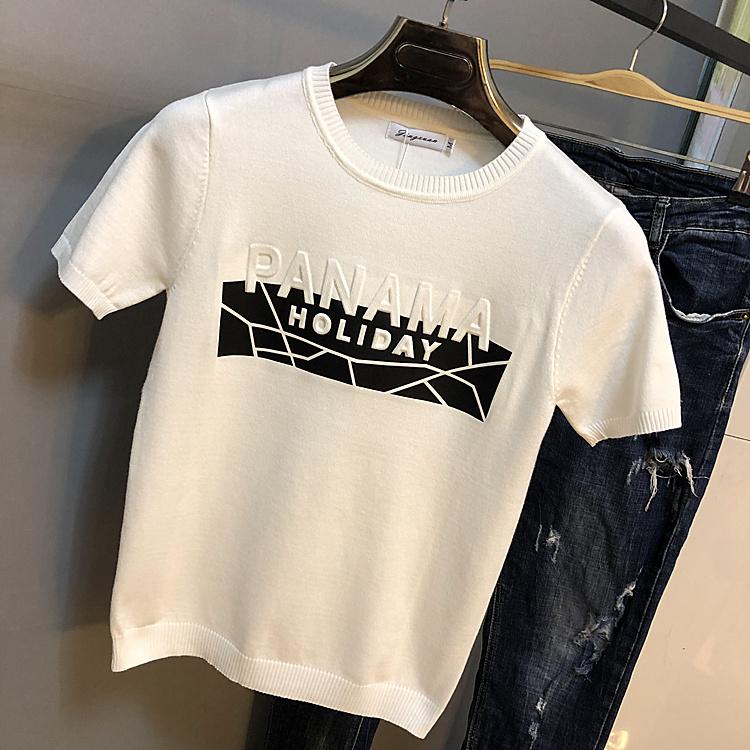2019 new mens half sleeve sweater trend personalized sweater Korean round neck short sleeve sweater