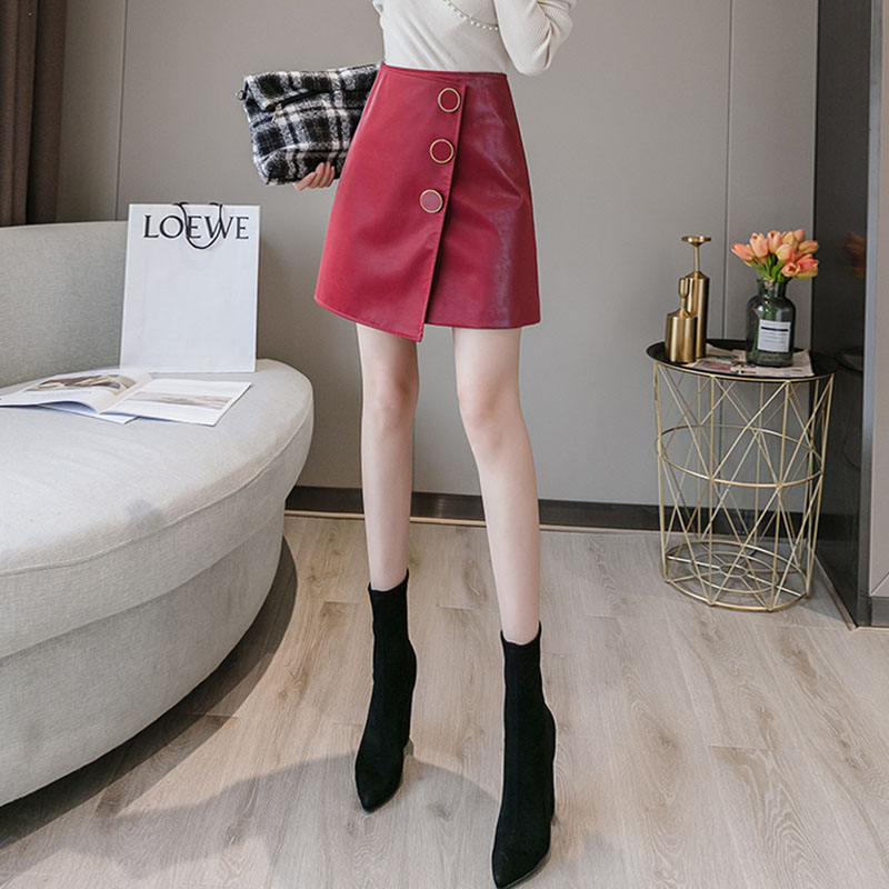 Aiyifu Meiji love clothes Liuguang FAIRY DRESS high waist Pu small leather skirt autumn / winter 2020
