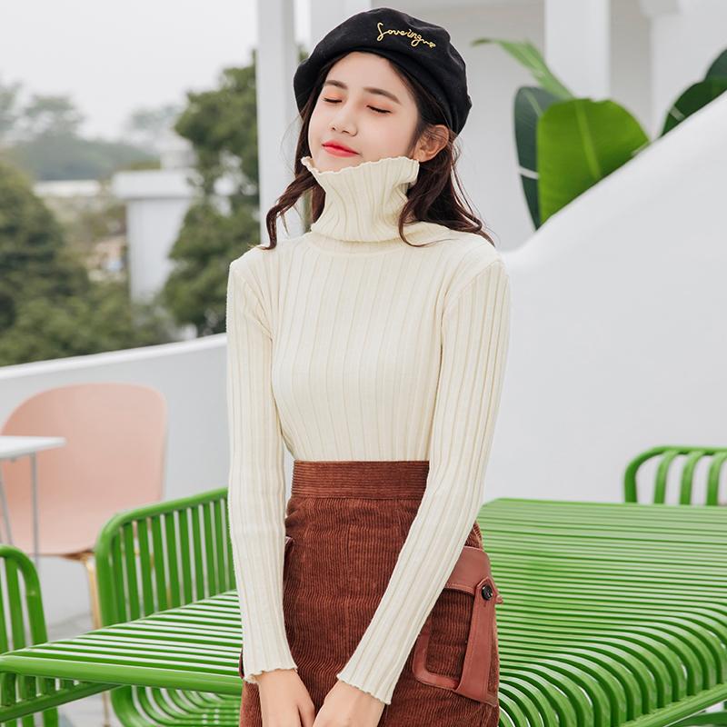 实拍~秋冬女装韩版修身显瘦坑条高领毛衣纯色套头打底衫针织衫上