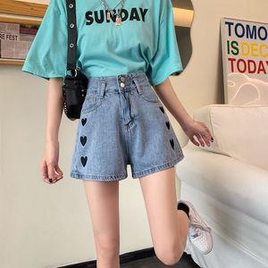 非實拍夏季新款愛心刺繡高腰牛仔短褲女寬松顯瘦百搭A字闊腿短褲