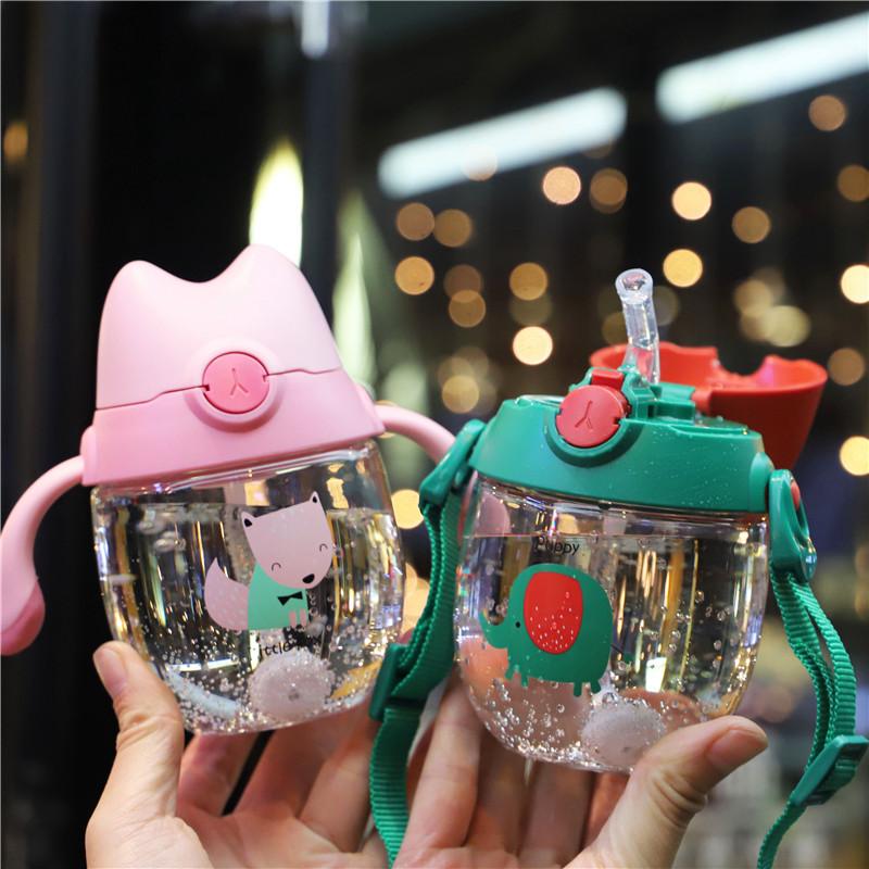 宝宝喝水杯子带吸管防漏防呛塑料水杯儿童吸管杯带刻度两用幼儿园