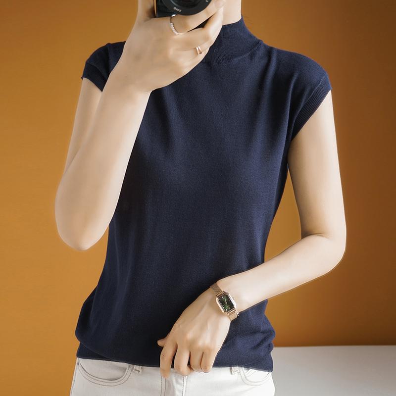 桑蚕丝ins新款半高领无袖气质上衣宽松针织休闲天丝短袖t恤女韩版