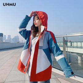 冲锋衣女潮牌韩国加绒加厚冬季2020新款三合一可拆卸工装外套潮bf