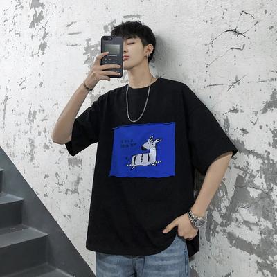 2019夏装新款斑马绣花贴布男士圆领短袖T恤 T218/P35 控价48