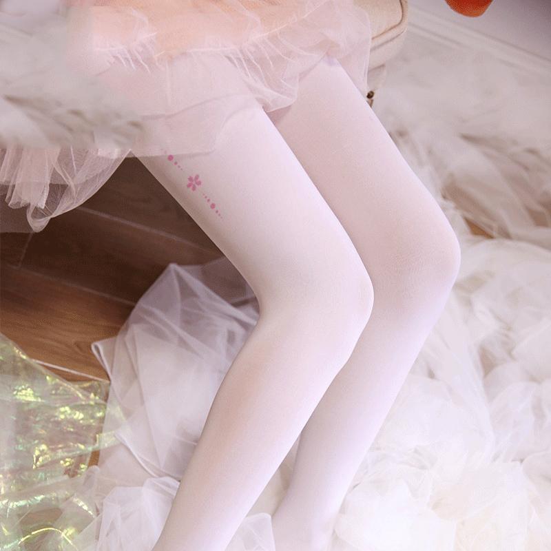 洛丽塔袜子天鹅绒秋季白丝袜女萝莉花边长筒打底百搭动漫白色薄款