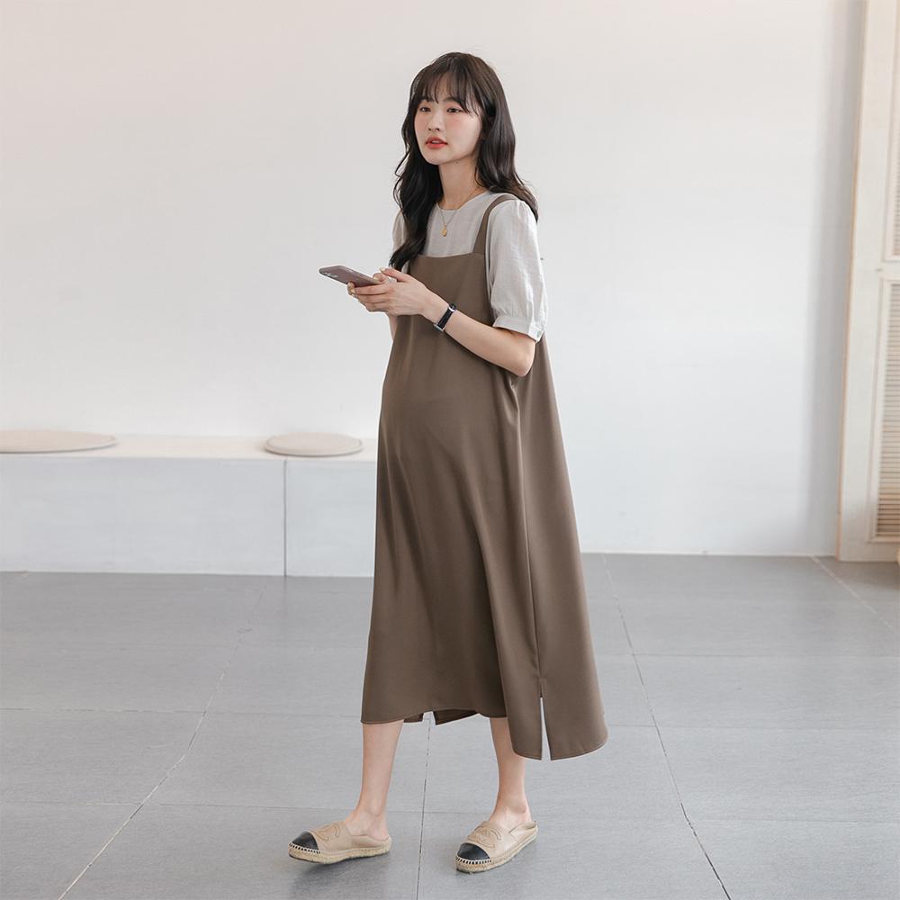知性魅力~时髦奶咖孕妇夏装两件套雪纺裙韩国显瘦背带长款连衣裙