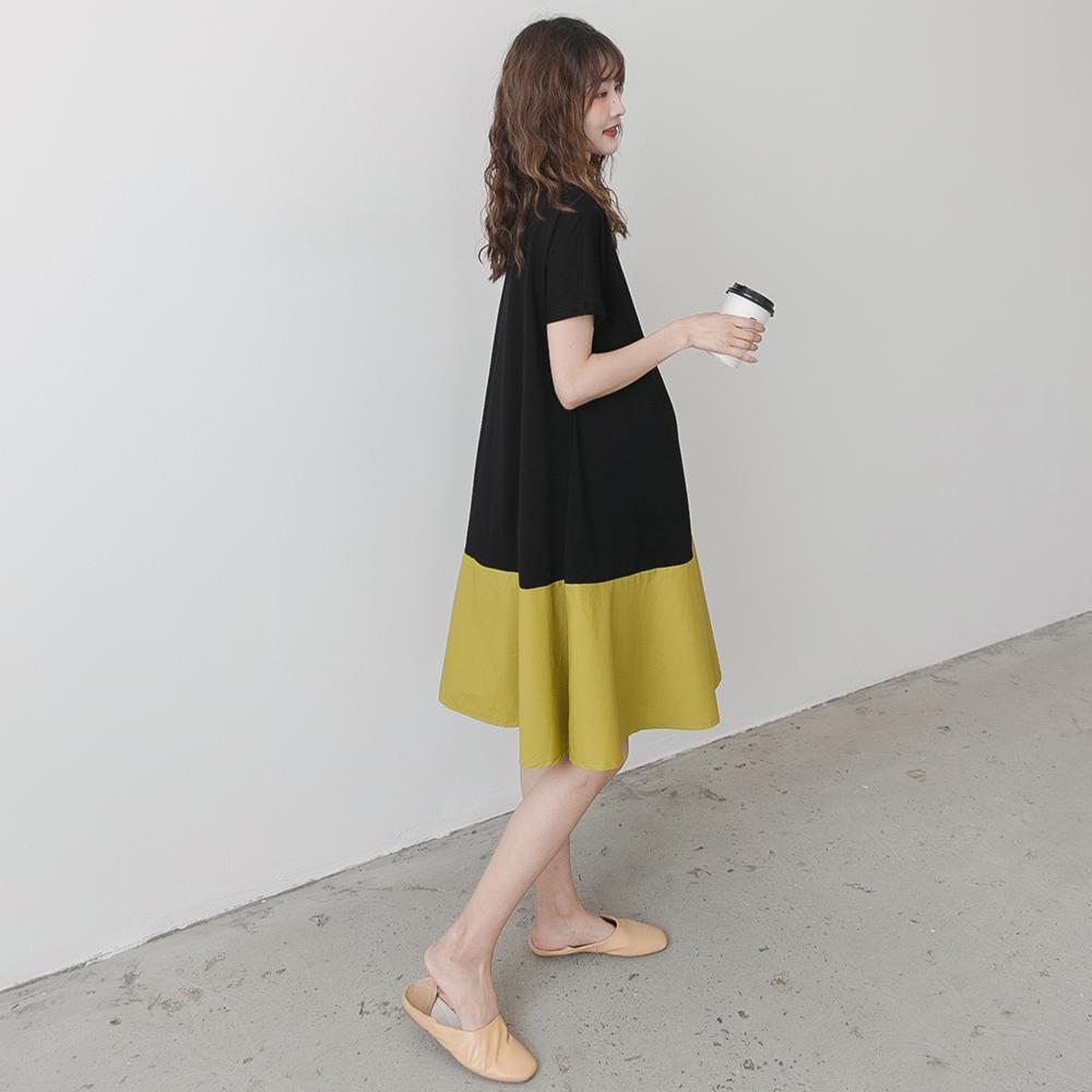 孕妇装夏装2020时尚撞色裙子潮妈辣妈个性洋气中长款夏天连衣裙