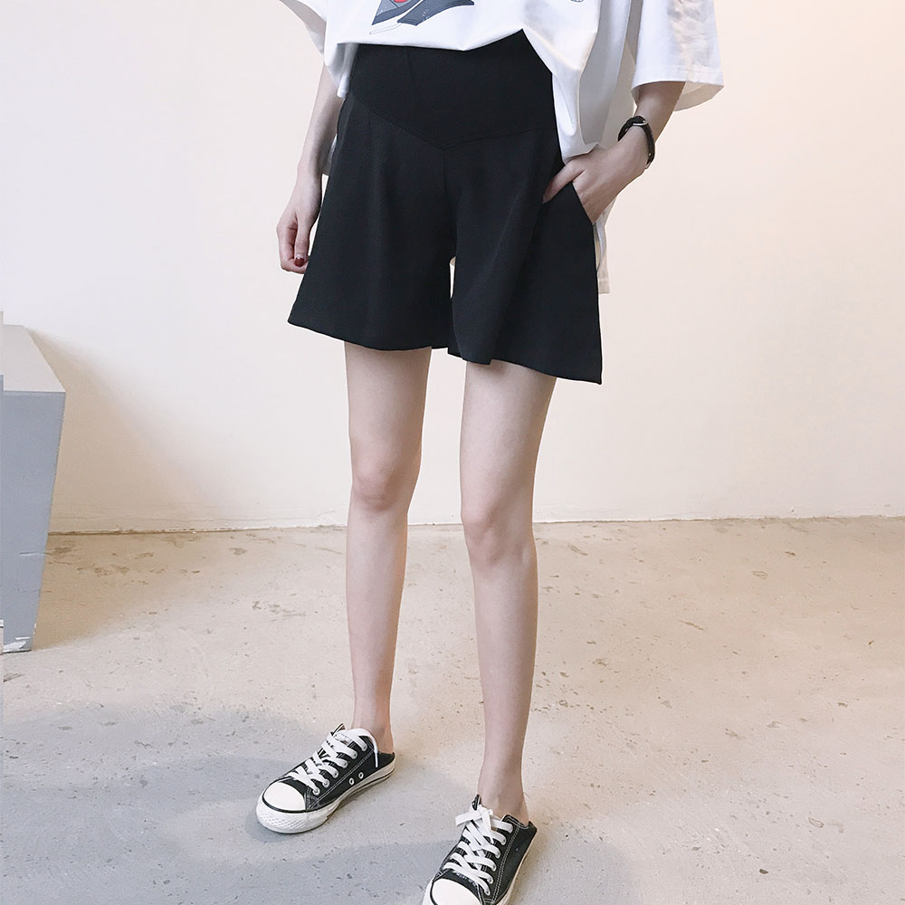 孕妇短裤夏季新款休闲宽松时尚新款纯色潮妈外穿裤薄款托腹打底裤