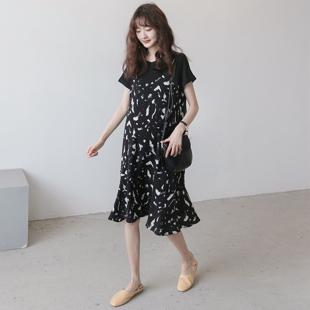 孕妇连衣裙夏装新款 气质花色假两件套韩版雪纺裙潮妈夏天中长款